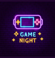 game night neon label vector image vector image