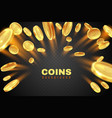 gold coin explosion golden dollar coins rain vector image