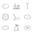 golf competition icons set outline style vector image vector image