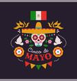 happy cinco de mayo card mariachi skull vector image vector image