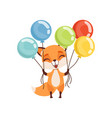 happy fox character holding bundles of colorful vector image