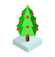 Isometric christmas tree icon vector image vector image