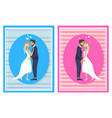 newlywed couple going to kiss man woman on wedding vector image vector image