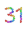 number 31 thirty one of colorful hearts on white vector image