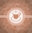 Old grunge background with coffee label - cup vector image vector image