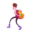picture of a high school student with a backpack vector image vector image