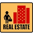real estate symbol with man and city vector image vector image