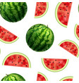 realistic detailed 3d whole watermelon and slices vector image