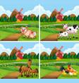 set animal at farmland vector image vector image