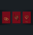 set valentines day greeting card gold heart logo vector image vector image