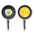 set with two frying pans and fried eggs vector image vector image