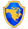 shield with silhouette of north america vector image vector image