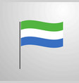 sierra leone waving flag vector image vector image