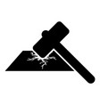 sledge hammer breaks hard surface with formation vector image vector image