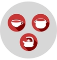 three flat icons kitchen theme vector image vector image