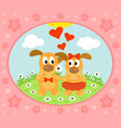 valentines day background card with dog vector image vector image