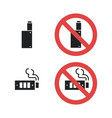 vaping device not allowed forbidding sign vector image vector image