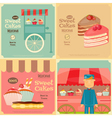 Vendor Cakes Cart and Cupcakes vector image vector image