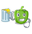 with juice cartoon fresh green pepper in the vector image