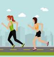 women running in the landscape vector image vector image