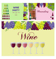 wine party poster with glasses line and grapes vector image