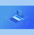 3d isometric file transfer vector image