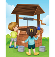 Cartoon Kids Water Well vector image vector image