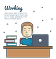 cartoon man working laptop workplace vector image