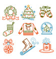 christmas wreath and pine tree socks and mittens vector image vector image
