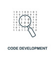 code development line icon thin design style from vector image vector image
