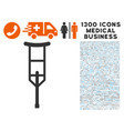crutch icon with 1300 medical business icons vector image vector image
