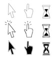 cursor hand and hourglass vector image vector image
