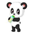 cute baby panda holding milk bottle vector image vector image