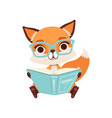 cute clever fox character sitting and reading a vector image vector image