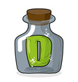D in bottle Green letter in blue glass jar Magic vector image