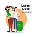 family parents and daughter with luggage suitcase vector image