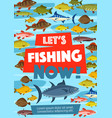 fishery poster with fish in water vector image vector image