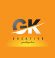 gk g k letter modern logo design with yellow vector image vector image