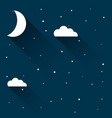 half moon in night sky with stars vector image