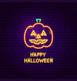 happy halloween pumpkin neon label vector image