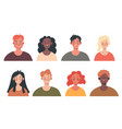 happy people man woman workers head face design vector image