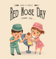 happy red nose day mother brought her daughter vector image