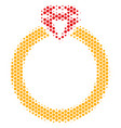 hexagon halftone ruby ring icon vector image vector image