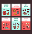 hipster doodle icons card templates set vector image