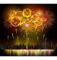 holiday firework and night city vector image vector image