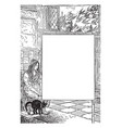 lady and cat sitting in this frame vintage vector image vector image