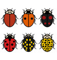 ladybugs logos symbols icons signs set vector image