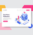 landing page template get more followers vector image vector image