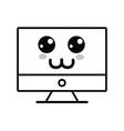 line kawaii cute happy computer technology vector image vector image