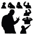 man silhouette body set in various poses in black vector image vector image